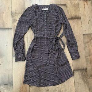 Loft Geometric Print Shirt Dress XS Long Sleeved